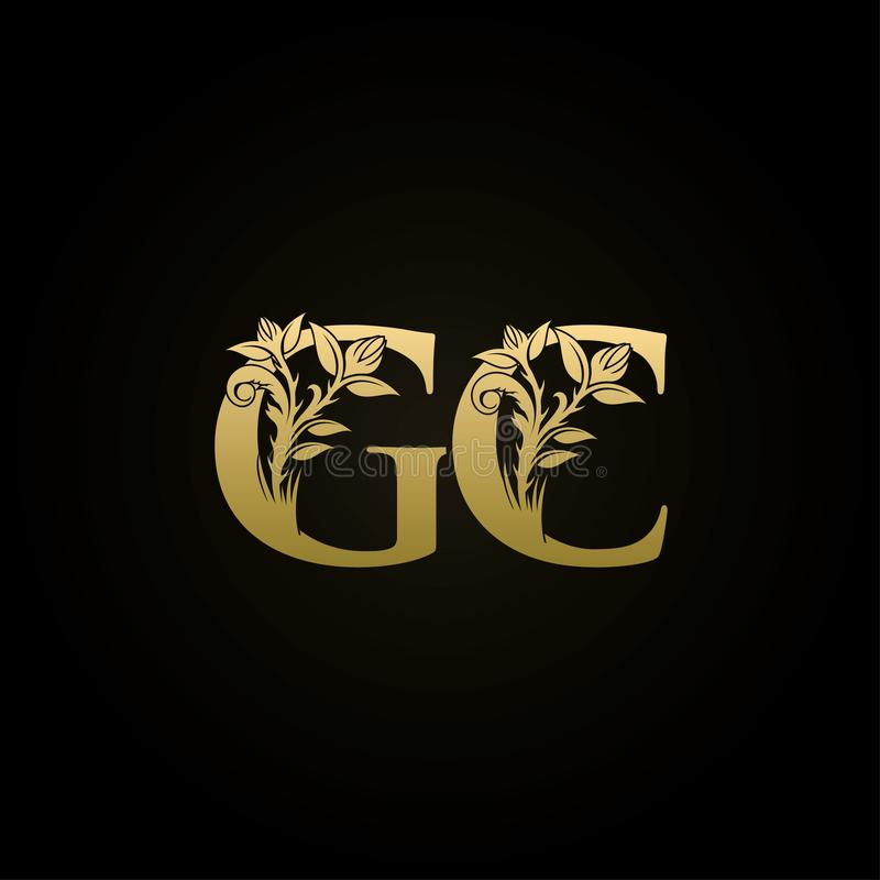 Elegant Ornamental Logo With The Letter S: Gold Luxury Floral Crests GC Letter Logo Stock