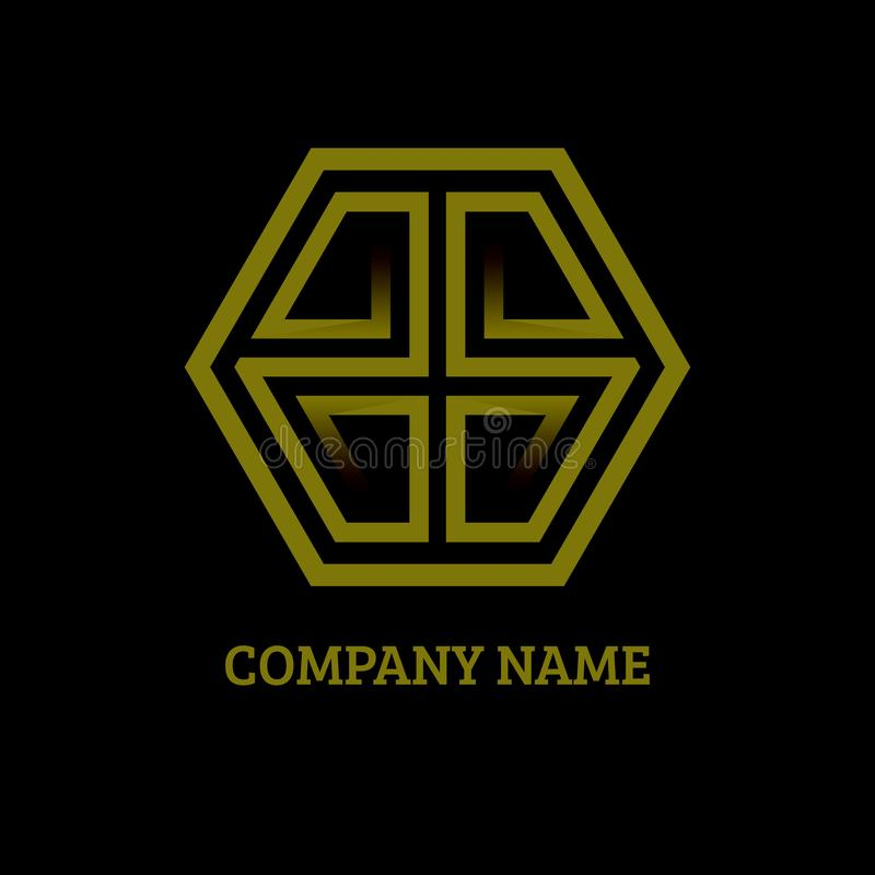 Gold luxury Letters G and S logo icon with business card template isolated on black royalty free illustration