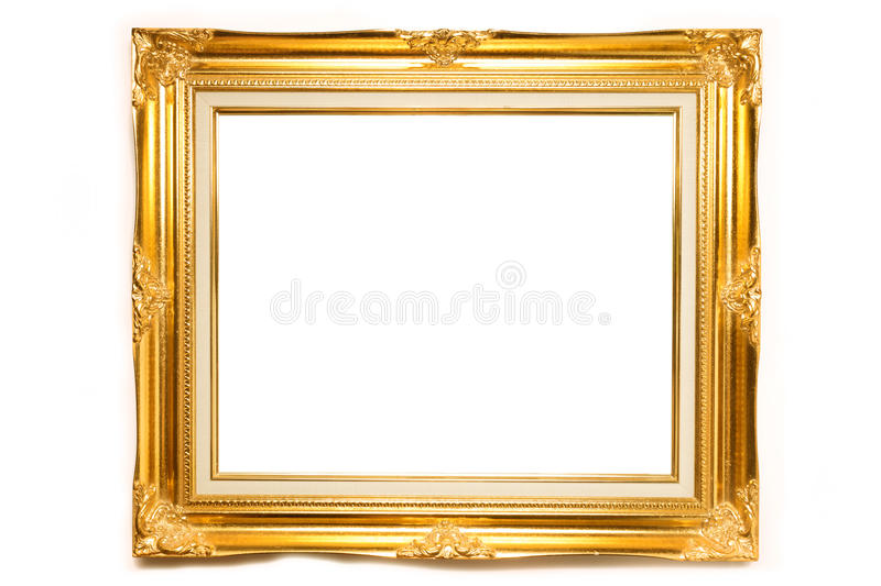 Gold luxury Louise photo frame over white background. Isolated object and copy space royalty free stock images