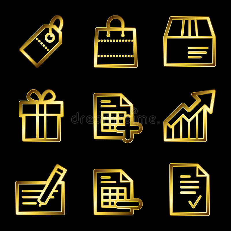 Download Gold Luxury Shopping Web Icons Stock Vector - Image: 8567950