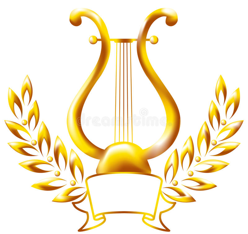 Free Gold Lyre, Framed By A Laurel Wreath. Royalty Free Stock Photos - 14303958