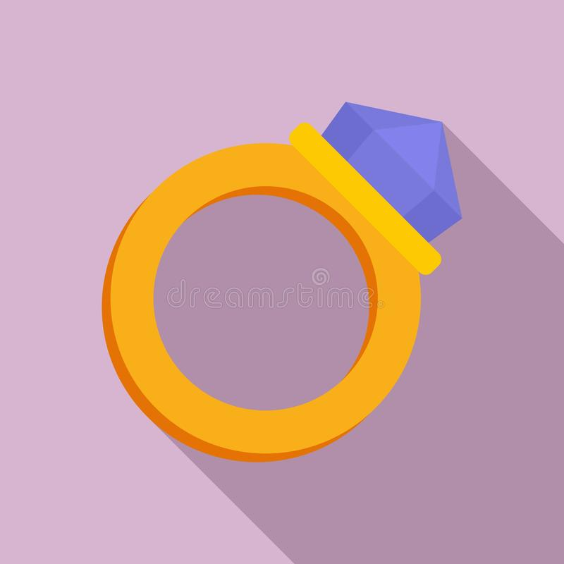 Gold magic ring icon, flat style royalty free illustration