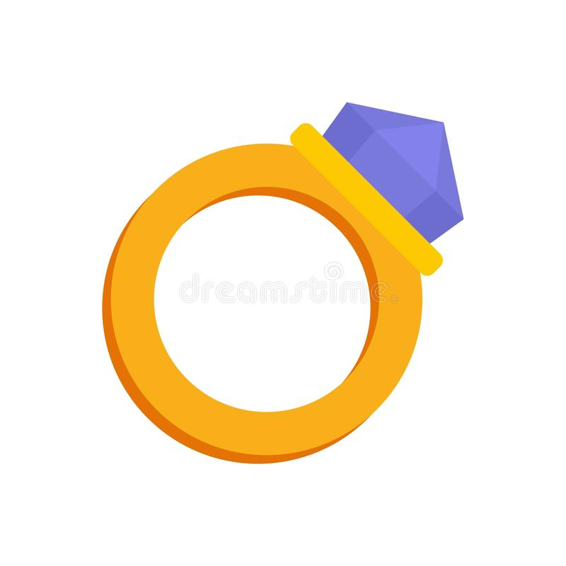 Gold magic ring icon, flat style. Gold magic ring icon. Flat illustration of gold magic ring vector icon for web design stock illustration