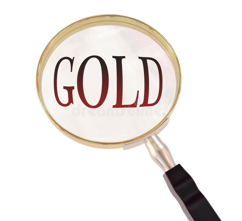 Gold magnify. By 3d rendered magnifying glass on isolated white background royalty free illustration