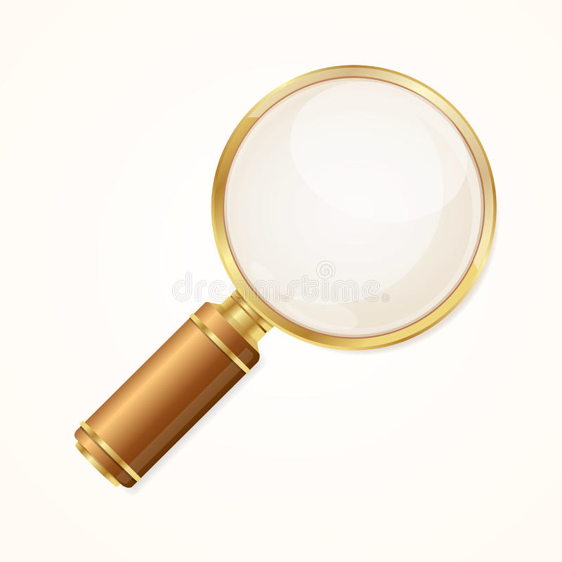Gold Magnifying Glass. Vector vector illustration