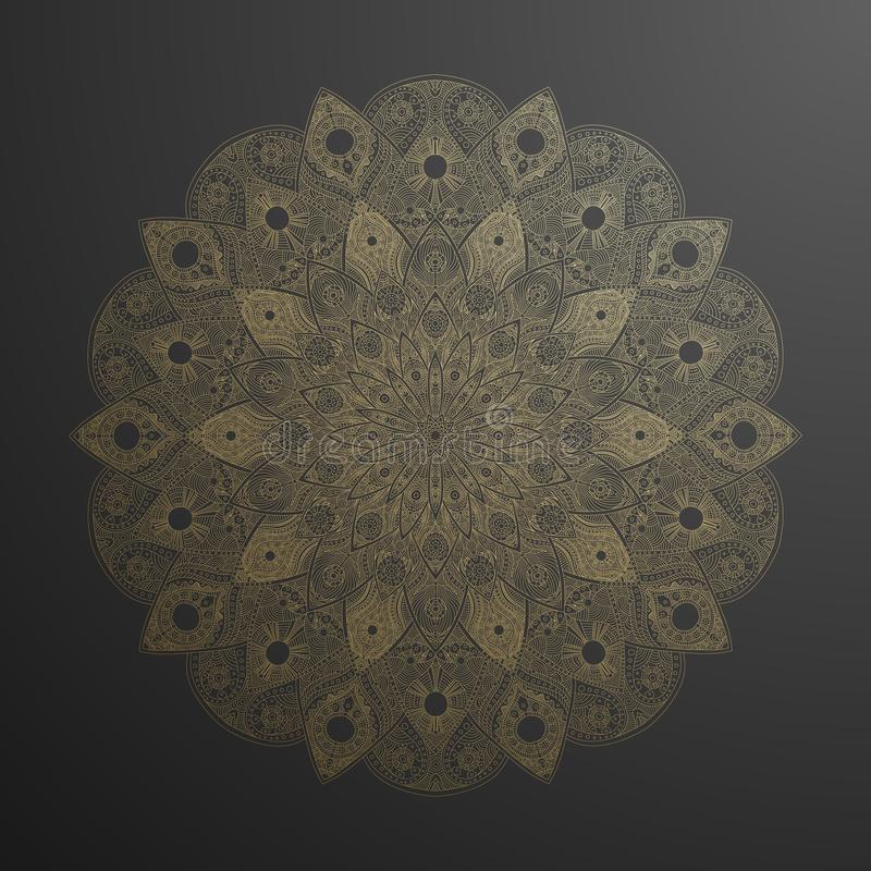 Gold mandala pattern. Abstract gold on black floral vector art. Golden flower in indian motive. Luxury lace decoration royalty free illustration