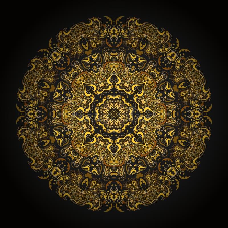 Gold mandala. In style of mayan calendar royalty free illustration