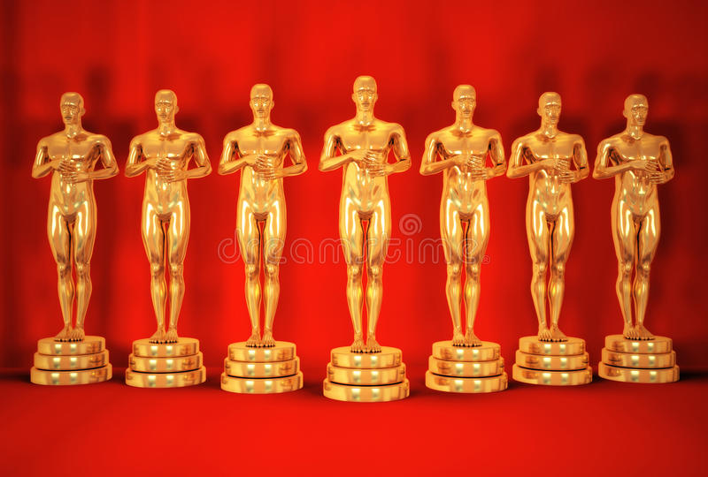 Download Gold mans on red. stock illustration. Illustration of award - 13302517
