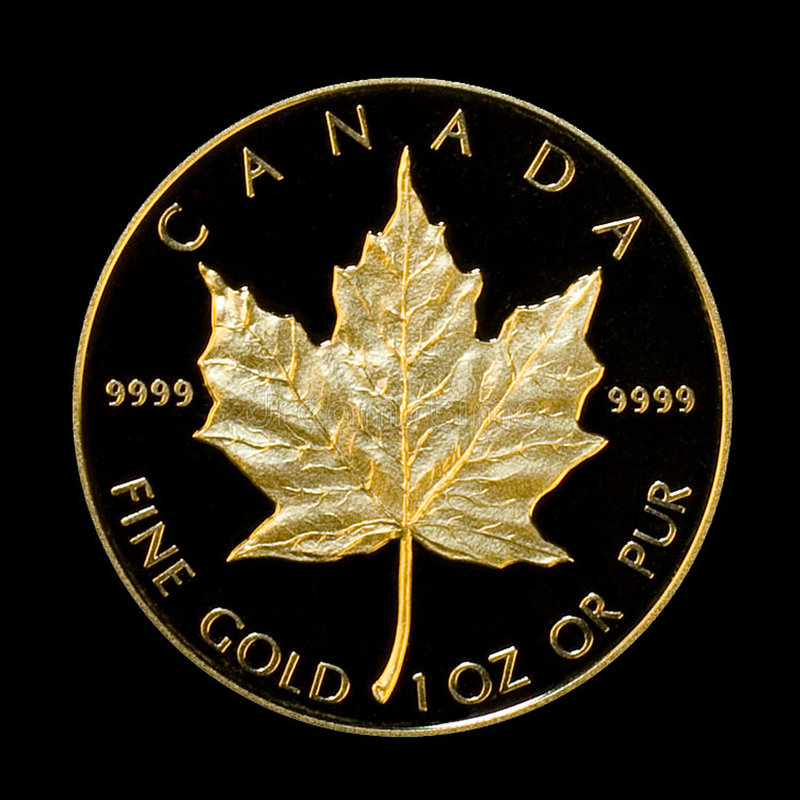 Download Gold Maple editorial stock image. Image of coin, black - 4603684