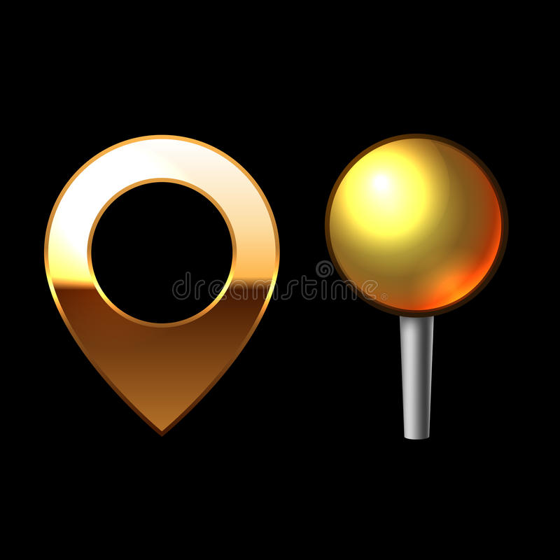 Gold Mapping Pins Set. Metal round shape with color reflection on black background. Vector. Gold Mapping Pins Set. Metal round shape with color reflection on stock illustration