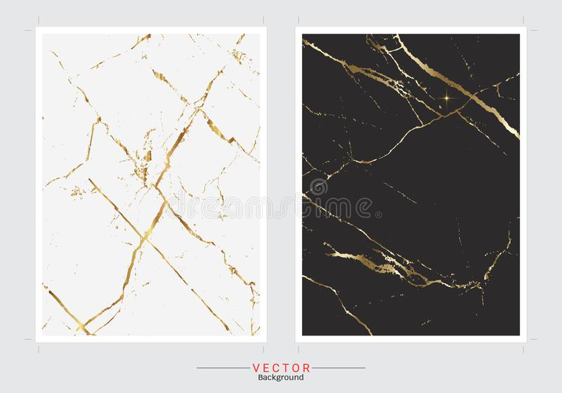 Gold marble cover background, Vector set template stock images