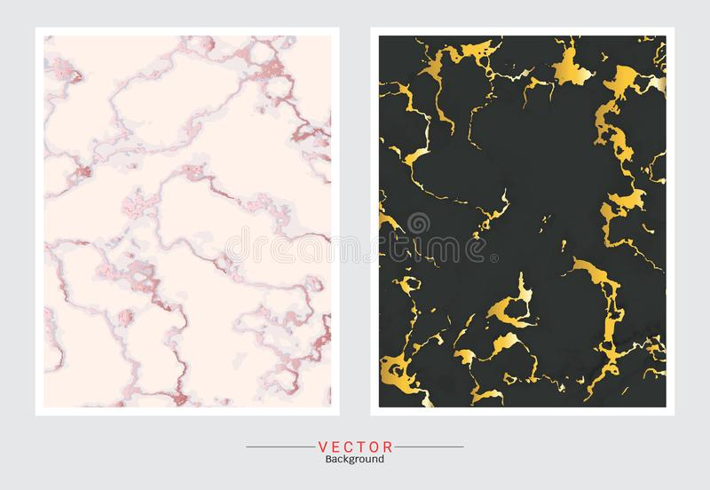 Gold marble cover background, Vector set template stock illustration