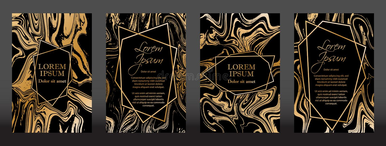 Gold marble texture and geometric frames on black backgrounds vector set. vector illustration