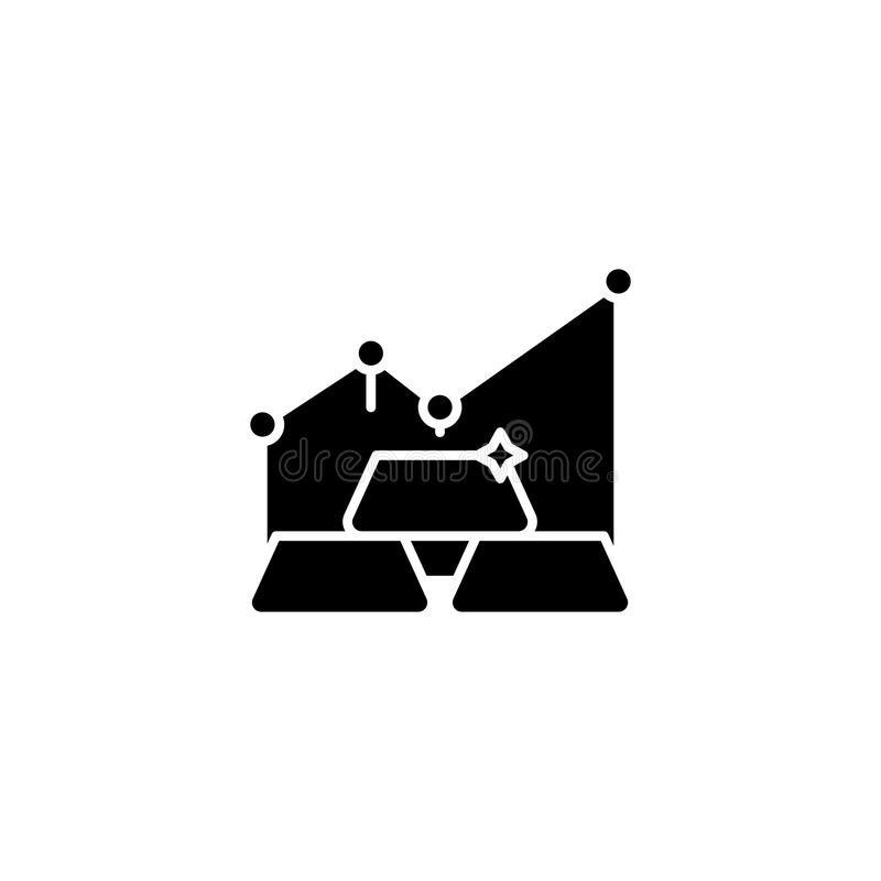 Gold Market Black Icon Concept Gold Market Flat Vector Symbol Sign