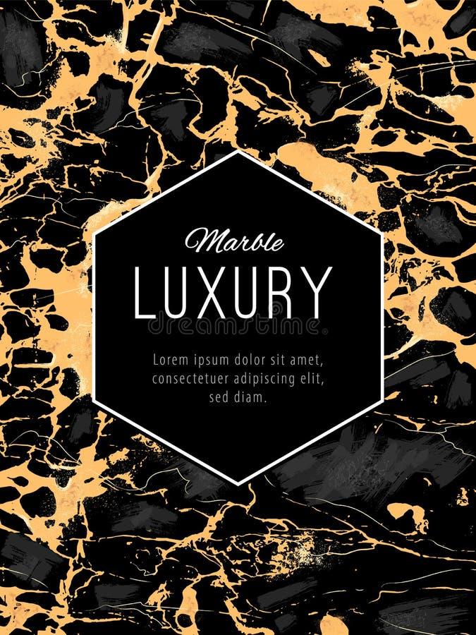 Gold marmorn Luxushintergrund mit Hexogen Fahne lizenzfreie abbildung