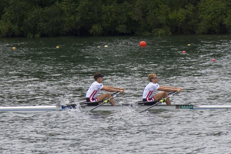 Gold meadlists in Lightweight Men's Double Sculls, European Rowi stock image