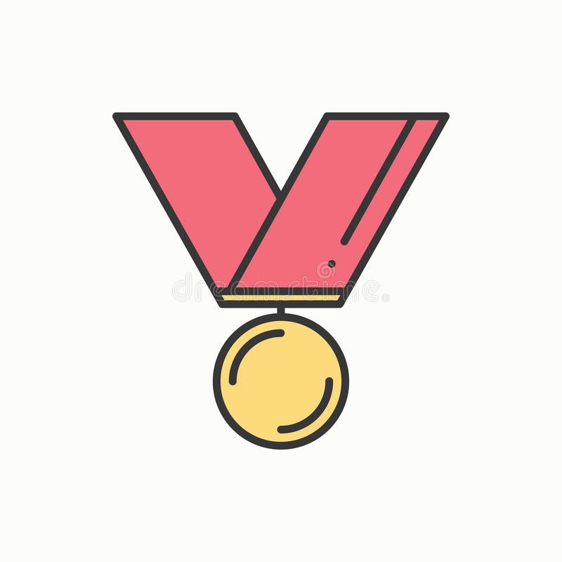 Free Gold Medal Award With Ribbon. Winner Line Thin Icon. First Place Leadership Champion Achievement. 1st Place. Vector Royalty Free Stock Photo - 86156825