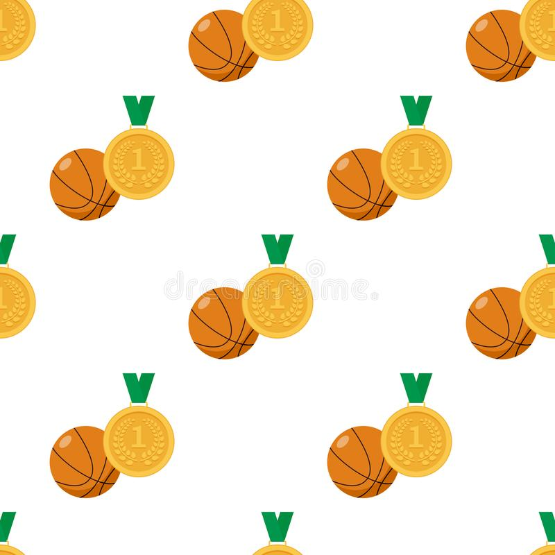 Gold Medal and Basketball Ball Seamless royalty free illustration
