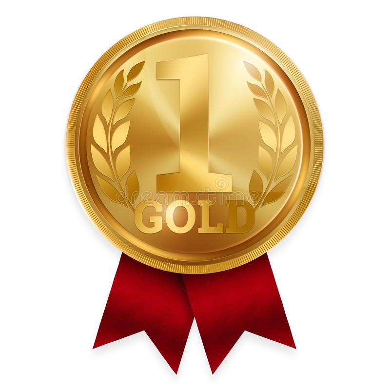 Gold Medal Best First Place. Winner, Champion, Number One. 1 St Place.  Metalworker`s Reward. Red Ribbon. Isolated On White Stock Illustration -  Illustration of medal, contest: 158358270