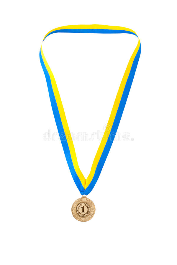 Gold medal champion at the tape. Of the country Ukraine stock photo