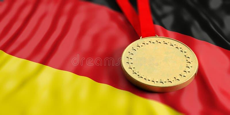 Gold medal on Germany flag. Horizontal, full frame closeup view. 3d illustration royalty free illustration