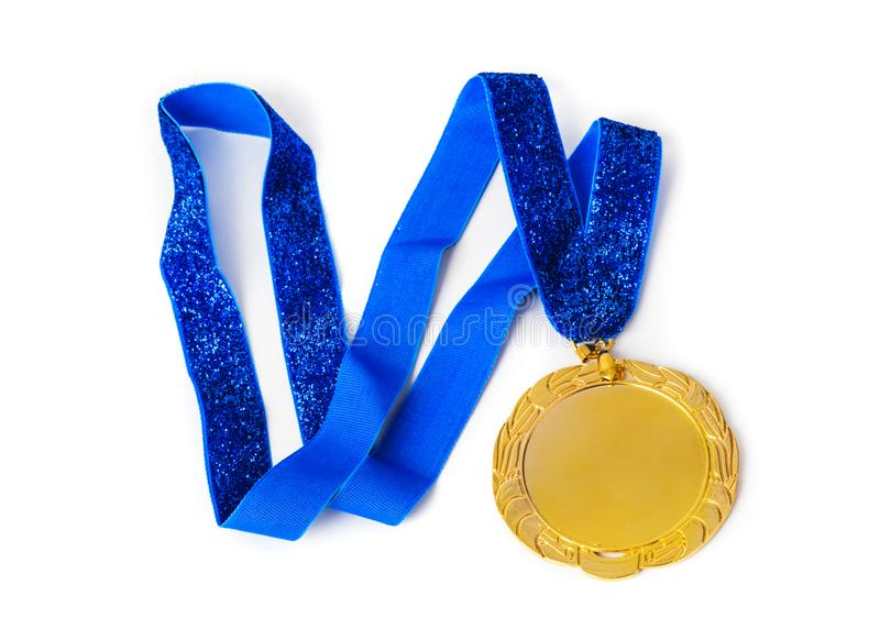 Gold medal. Isolated on white background stock photos