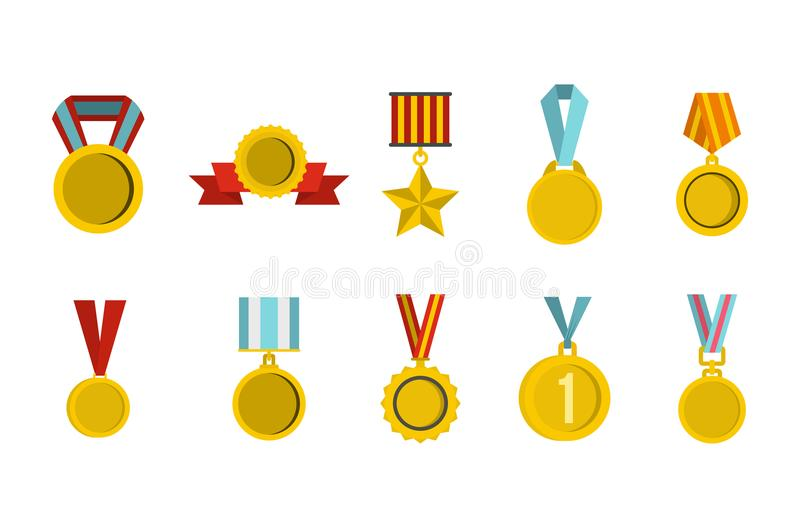 Gold medal icon set, flat style royalty free illustration