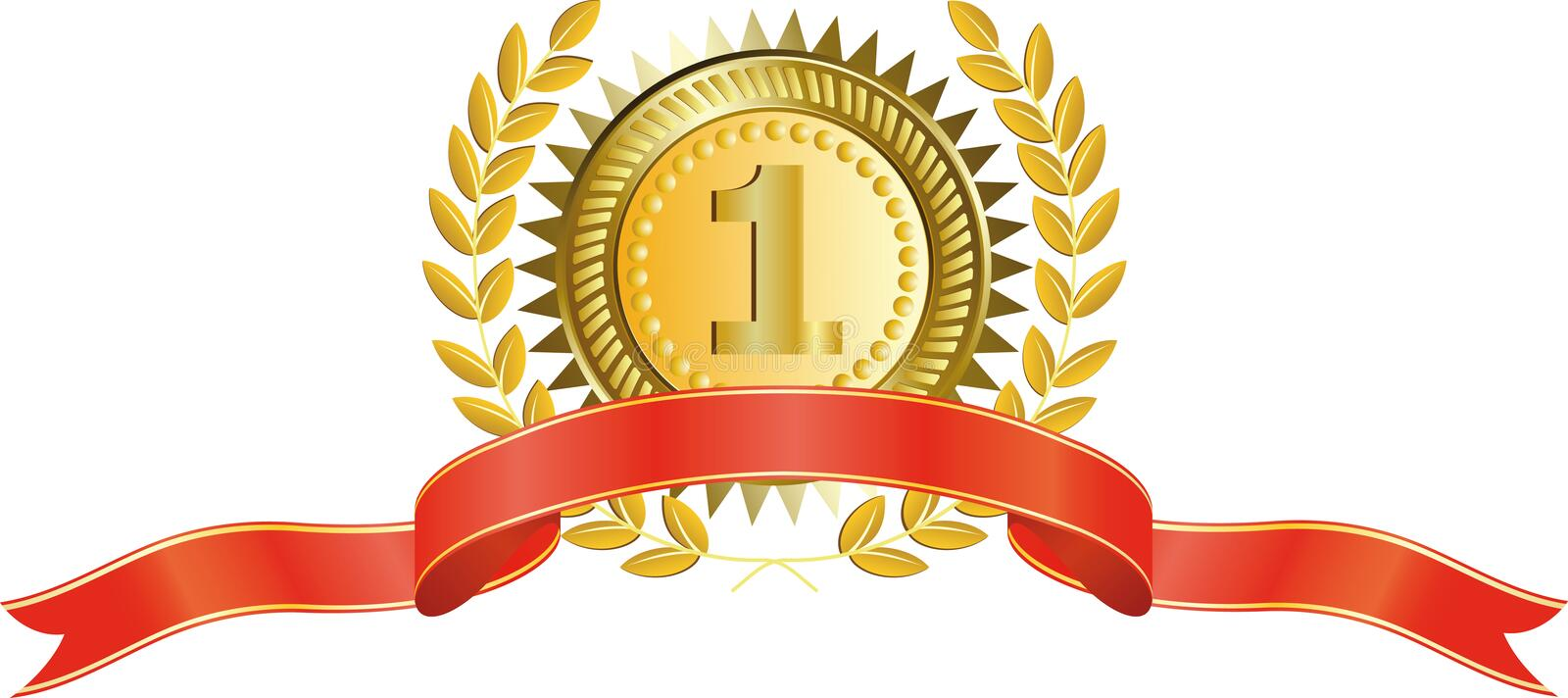 Gold medal and laurel wreath royalty free illustration