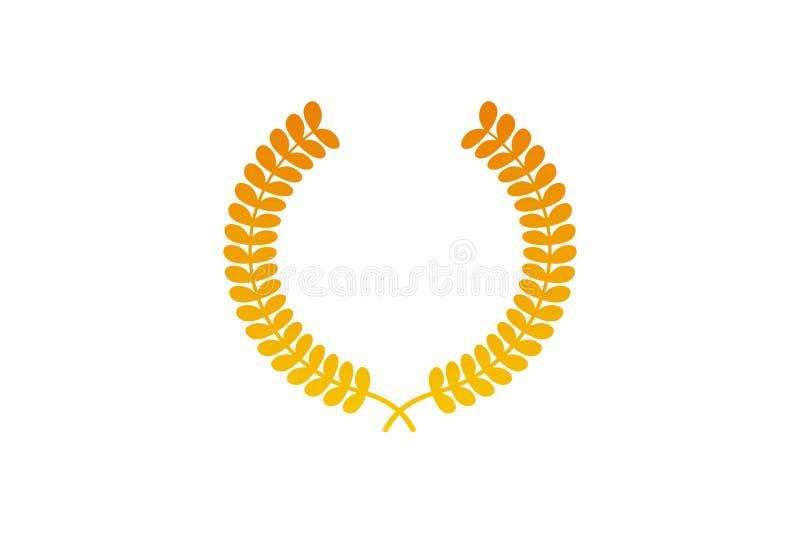 Gold medal Laurel wreath award icon symbol on white background. Illustration design royalty free illustration