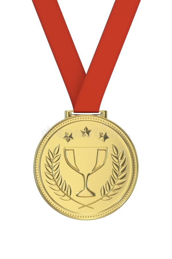 Gold medal. With laurels , stars and cup. Round blank coin with ornaments. Victory, best product, service or employee, first place concept. Achievement in royalty free stock photography