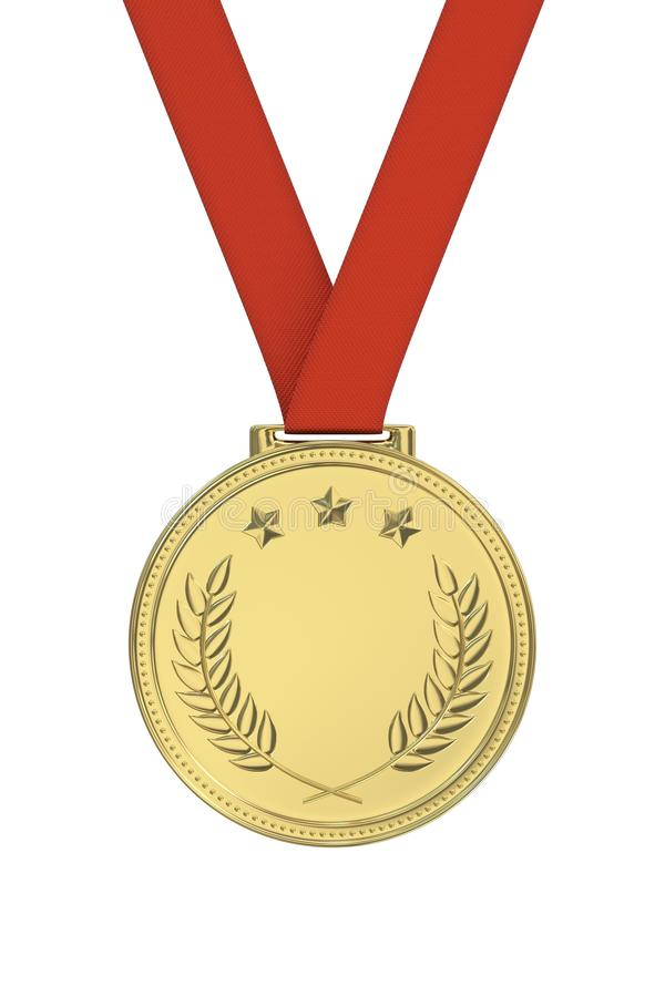 Gold medal. With laurels, stars on a red ribbon. Round blank coin with ornaments. Victory, best product, service or employee, first place concept. Achievement stock photography