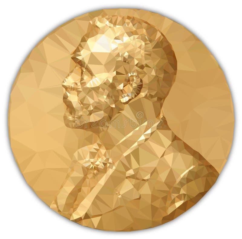 Gold Medal Nobel prize, graphics elaboration royalty free illustration
