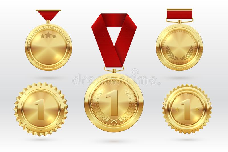 Gold medal. Number 1 golden medals with red award ribbons. First placement winner trophy prize. Vector set stock illustration