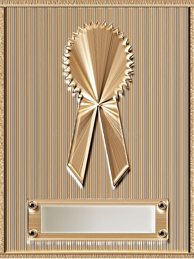 Gold Medal Plaque. Shiny gold ribbon on gold metal frame plaque with blank chrome silver nameplate ready for personalization stock images