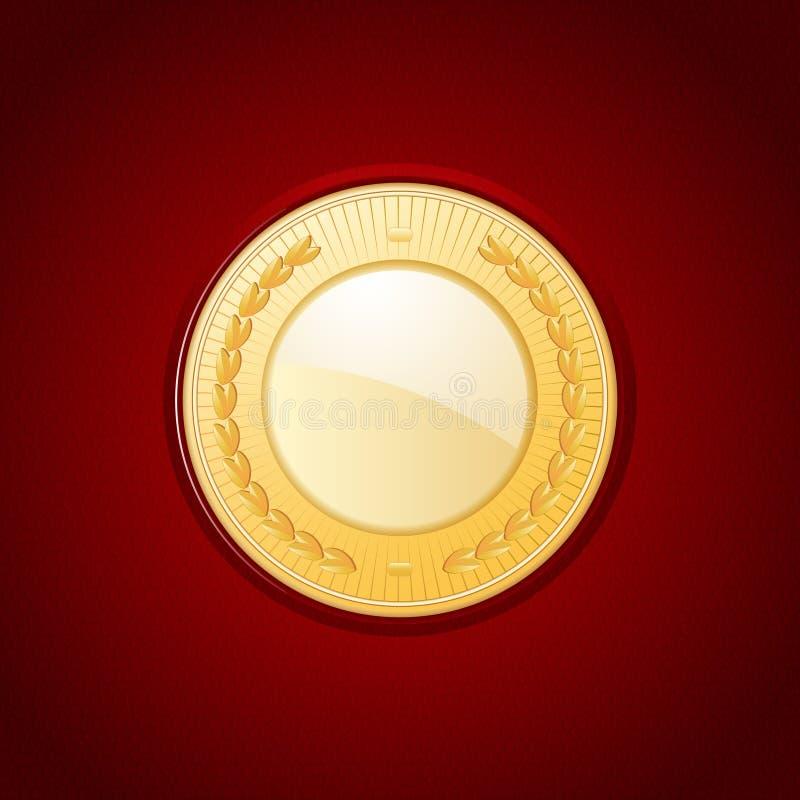 Download Gold medal on red leather stock vector. Illustration of illustration - 36470389