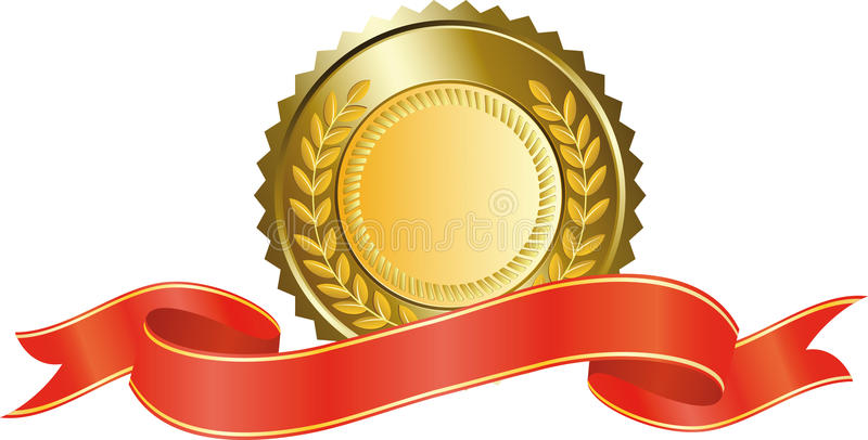 Gold medal and red ribbon stock illustration