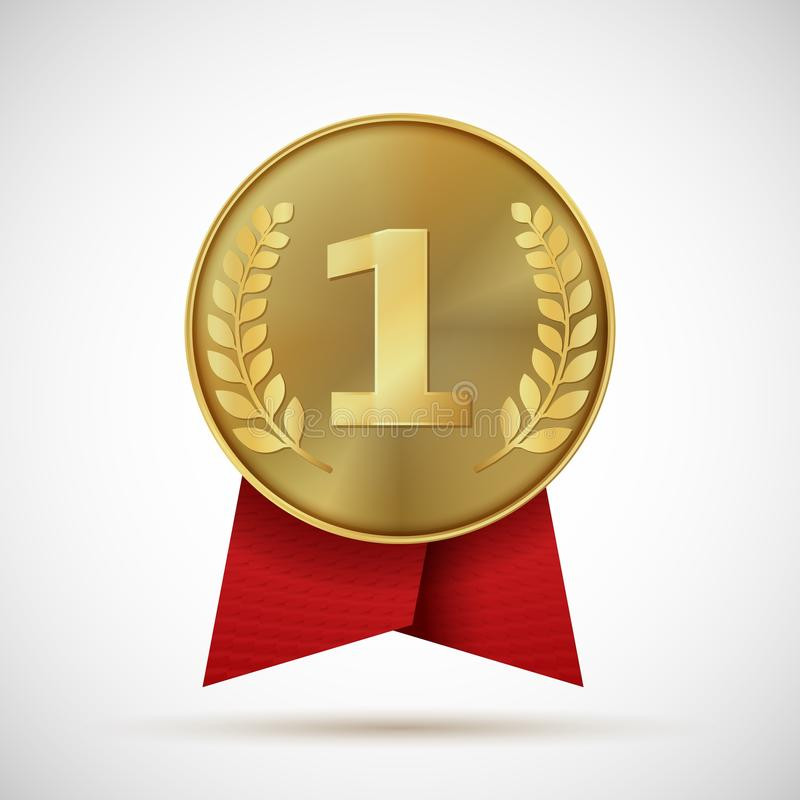 Gold medal with red ribbon. First place golden design bage. Realistic vector illustration symbol places numbers one like royalty free illustration
