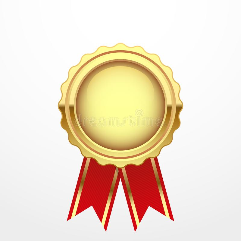 Gold medal with red ribbon stock photography