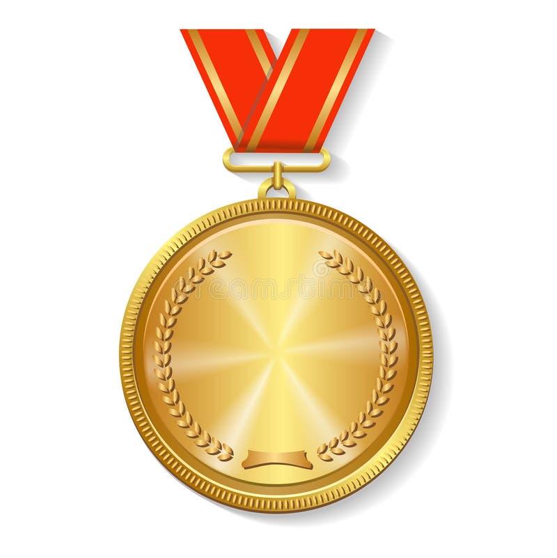 Gold medal on red ribbon royalty free illustration