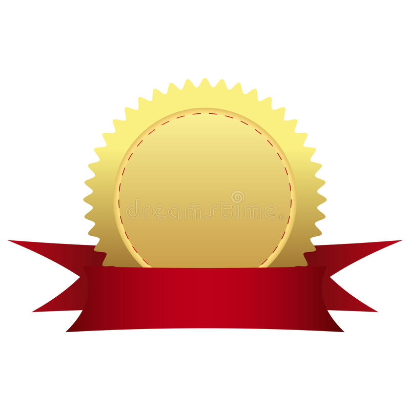 Gold medal with ribbon royalty free stock photography