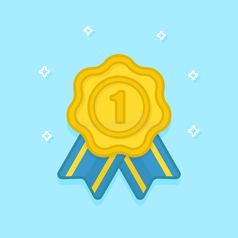 Gold medal with ribbon. Winner award. Golden 1st place badge. Vector icon in flat style. royalty free illustration