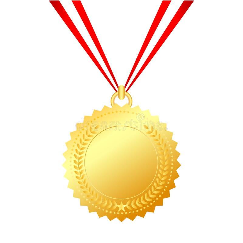 Gold medal with string vector illustration