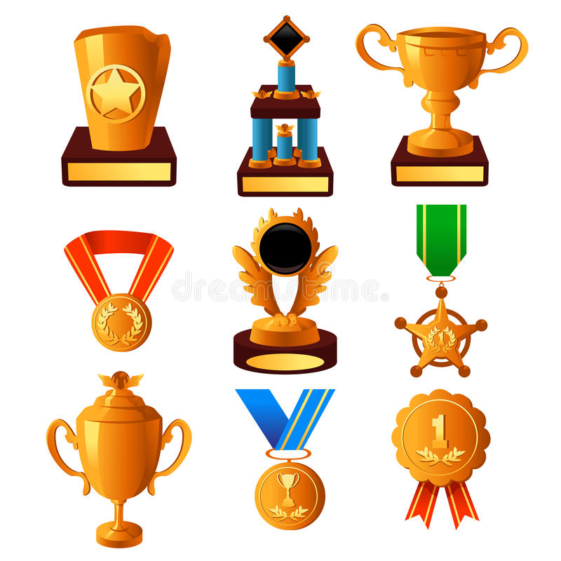 Gold medal and trophy icons stock illustration