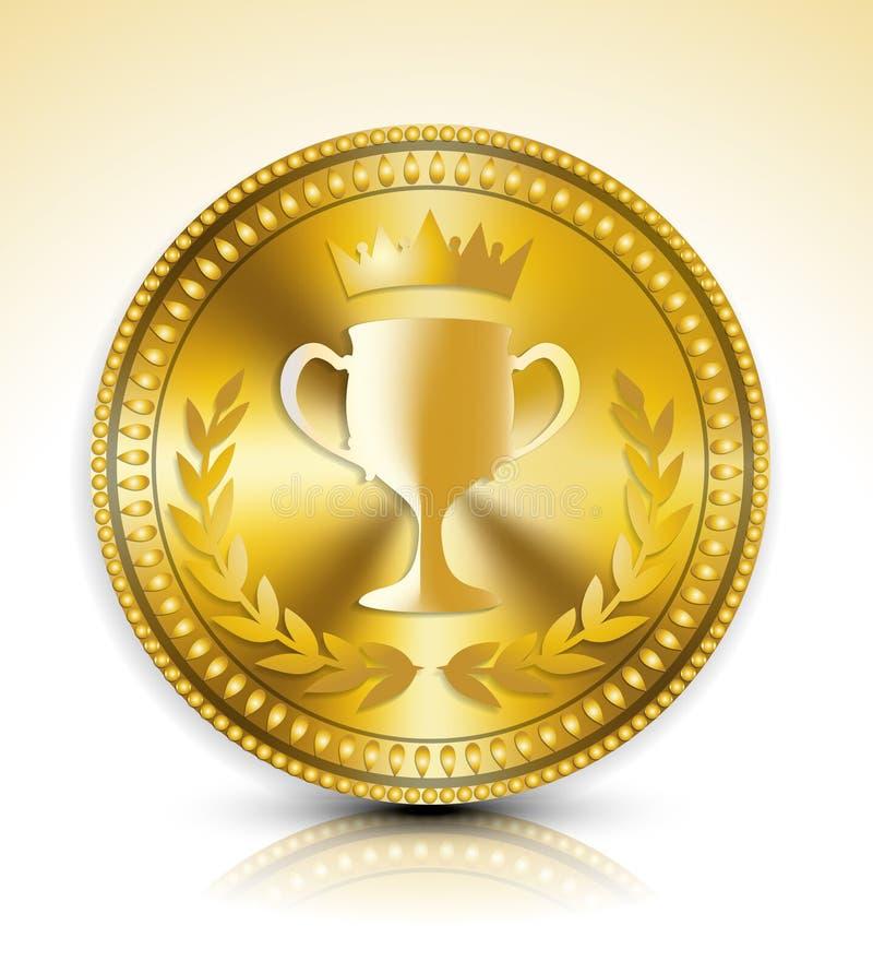 Gold medal. Vector illustration background
