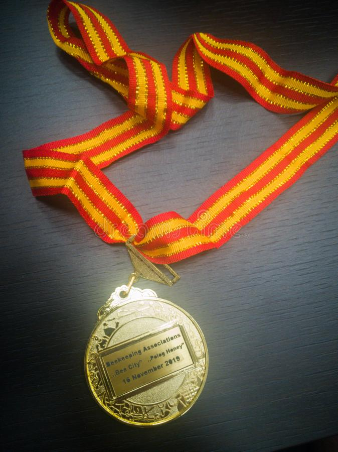 Gold medal. Won at the International Honey Fair in Macedonia royalty free stock images