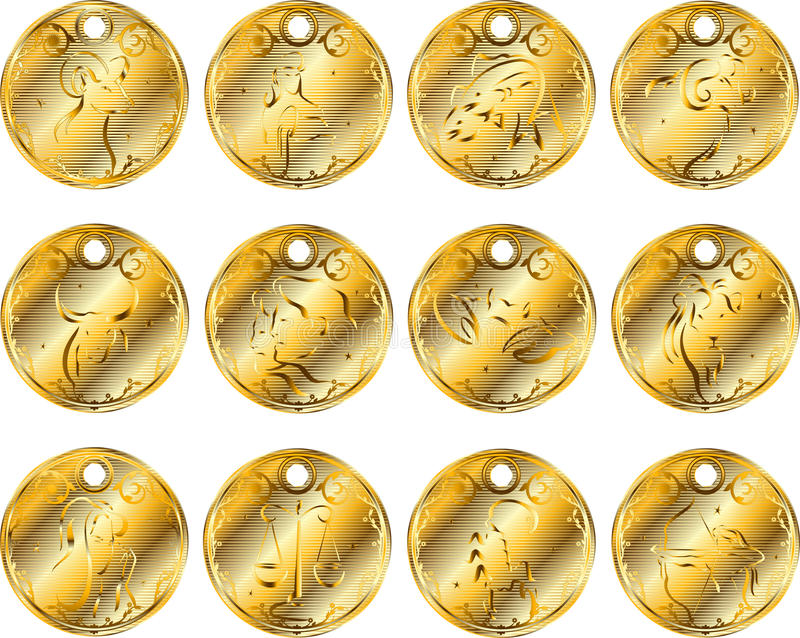 Download Gold Medallions Of The Zodiac. Royalty Free Stock Photos - Image: 14054088