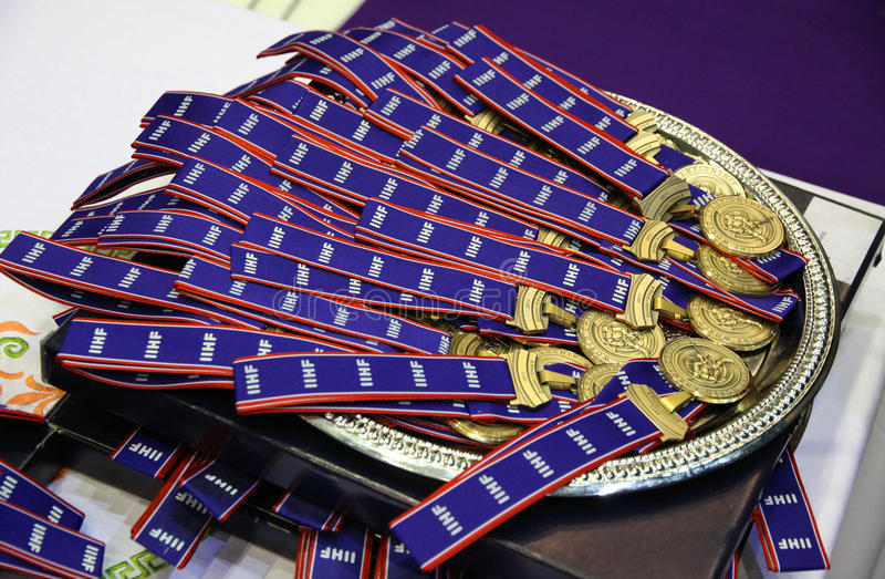 The gold medals of IIHF World Championship royalty free stock photo
