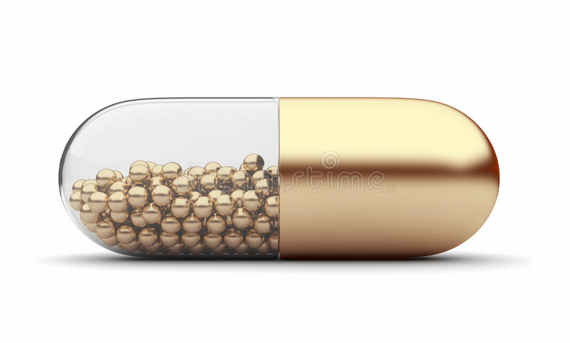 Gold medical pill 3D. Vitamins. Isolated. On white background stock illustration