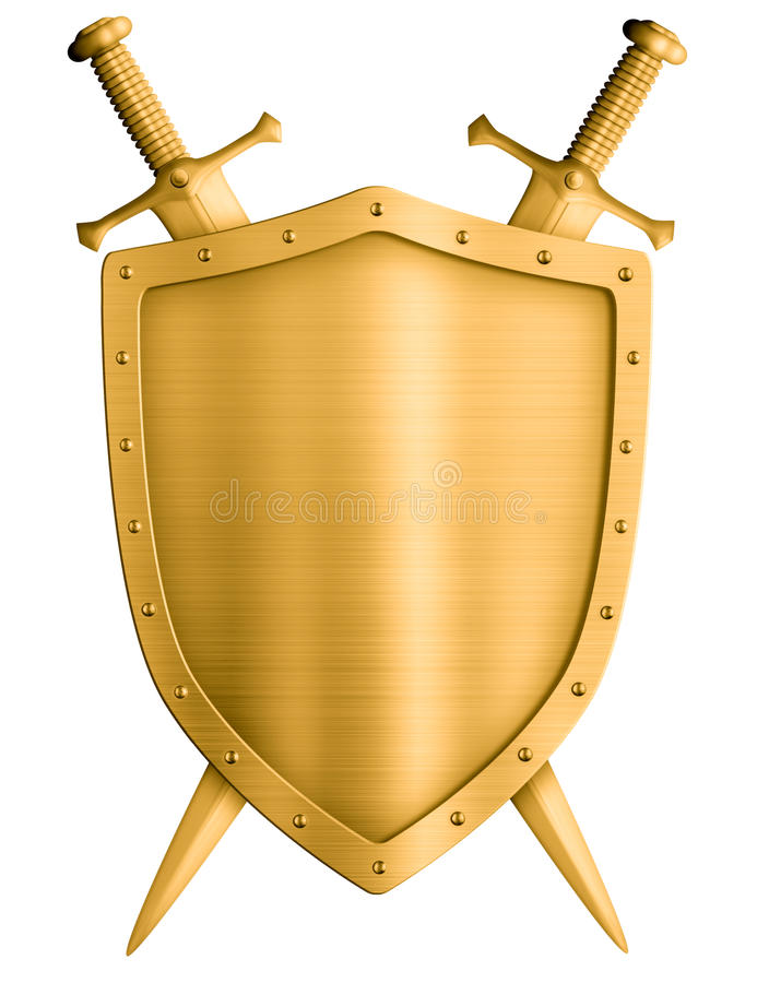 Gold medieval knight shield and crossed swords isolated. Gold medieval knight shield and swords isolated on white royalty free stock images