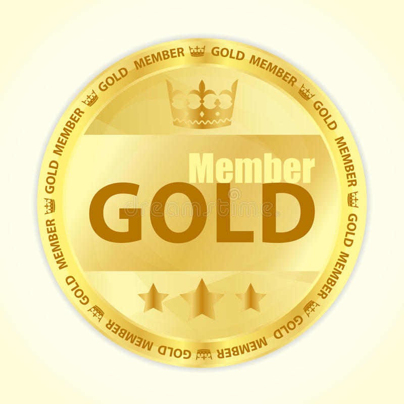 Gold member badge with royal crown and three golden stars royalty free illustration